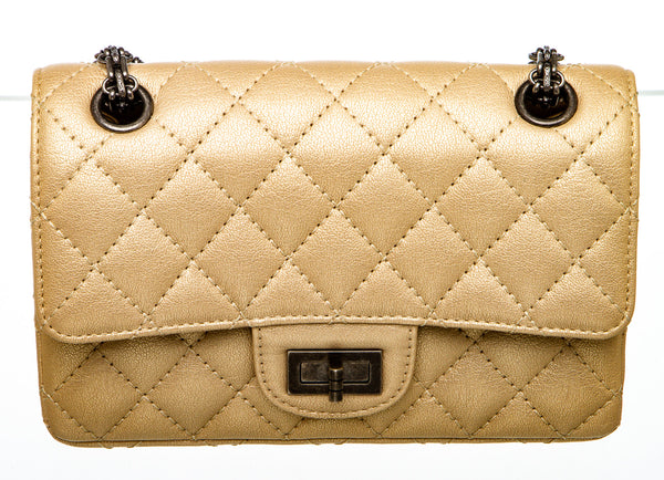 Chanel Metallic Beige Sheepskin Reissue 2.55 Flap 224 Bag