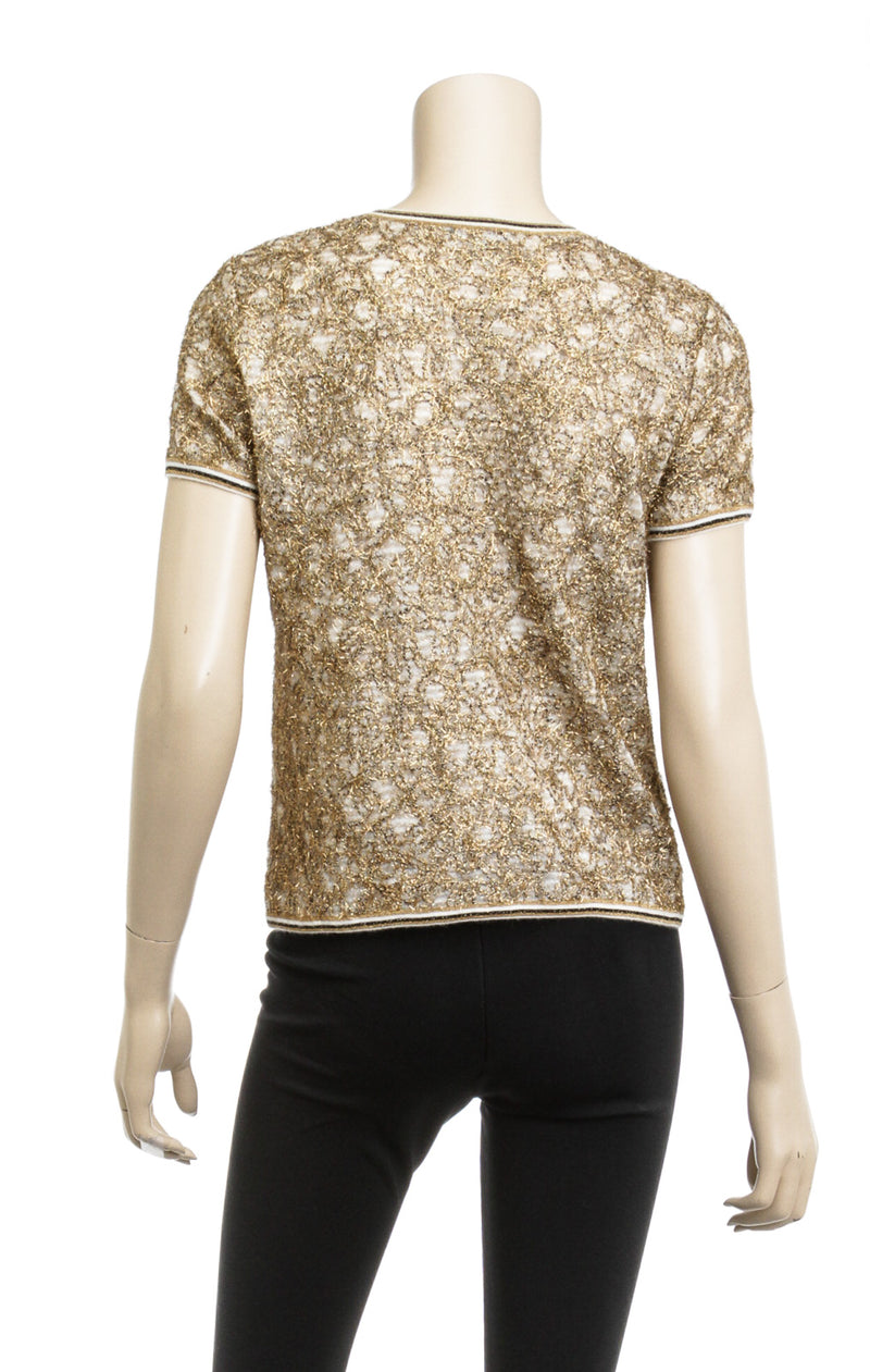 Chanel Gold Beige Monogram Knit Blouse Top Size 36