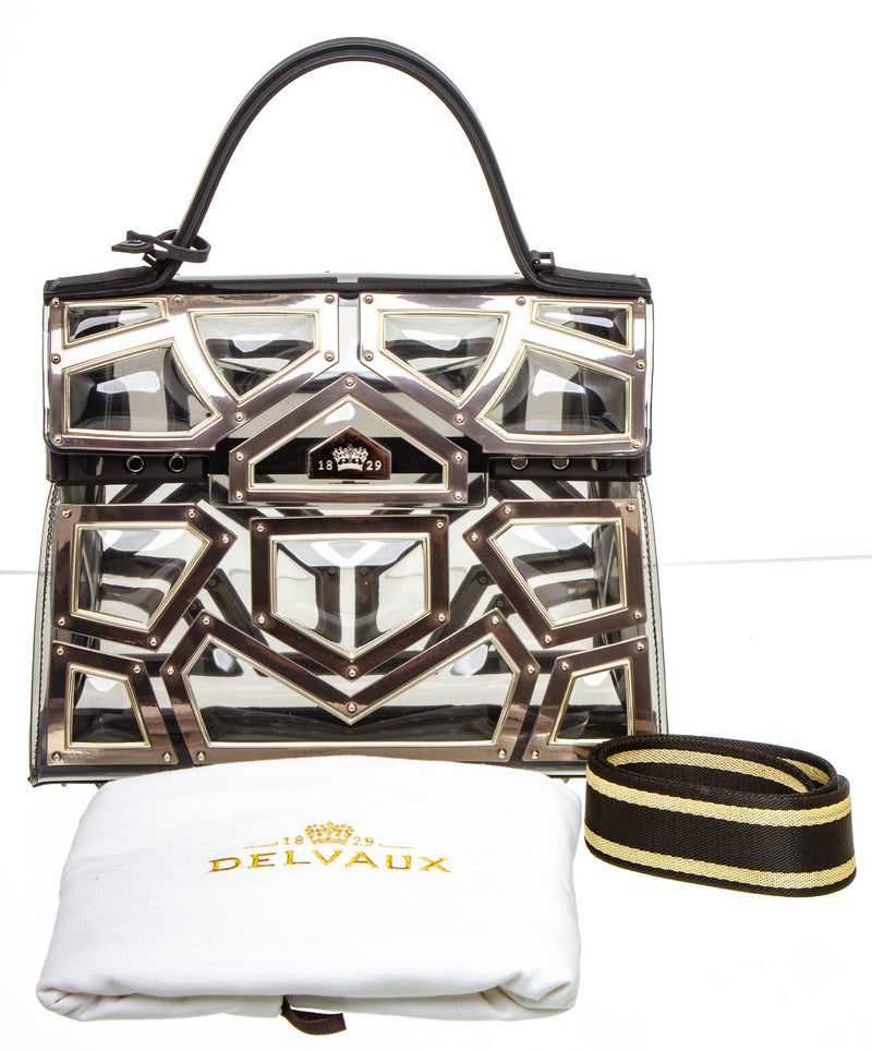 Delvaux Black Vinyl and Metal Embellished Gladiator Tempete GM Bag