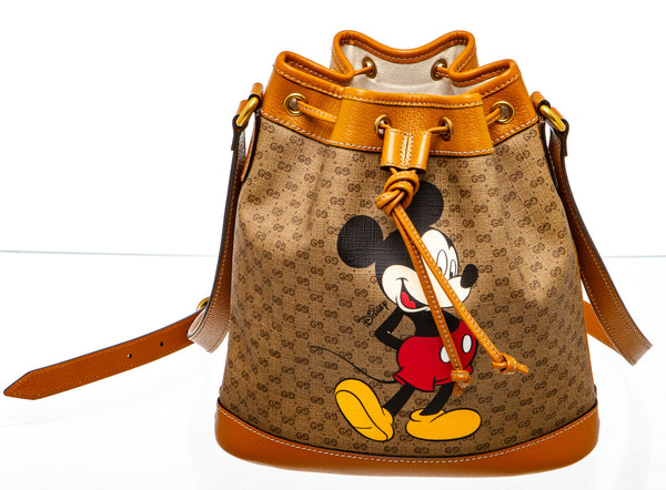 Gucci x Disney Mickey Mouse Beige GG Canvas Small Bucket Bag