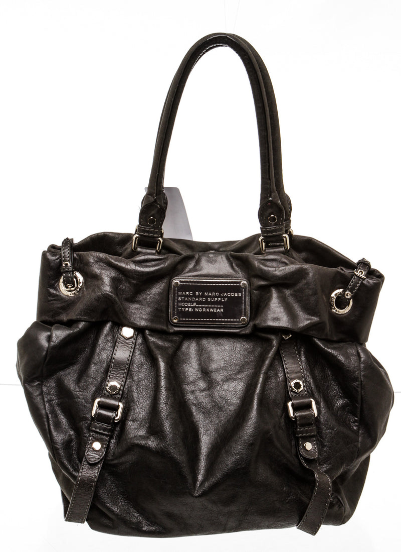 Marc Jacobs Standard Supply Black Distressed Leather Tote Bag