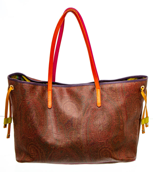 Etron Burgundy Multicolor Canvas Paisley Print Tote Bag