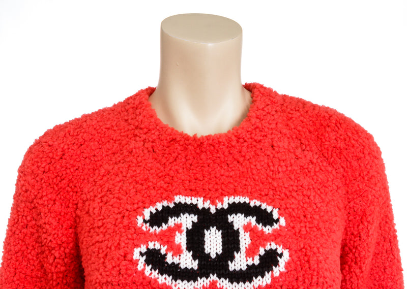 Chanel Red Knit CC Fuzzy Sweater 2019 Fall Winter Runway Size 36