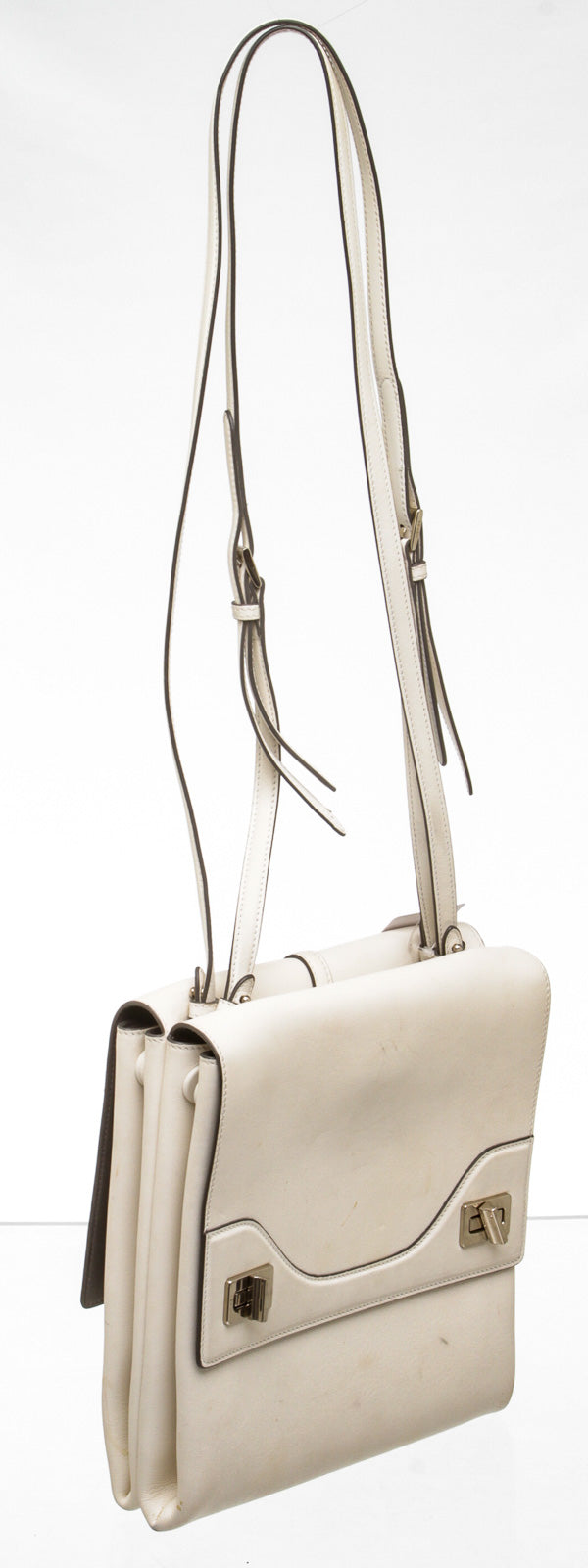 Prada Cream Leather Double-Sided Flap Shoulder Bag