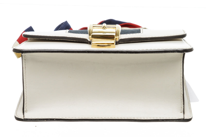 Gucci White Leather Sylvie Web Stripe Mini Shoulder Bag GHW