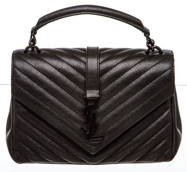 Saint Laurent All Black College Matelassé Leather Bag