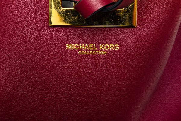 Michael Kors Burgundy Leather Miranda Bucket Bag