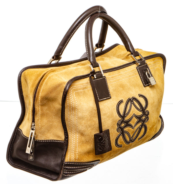 Loewe Camel Suede and Leather Amazona Bag