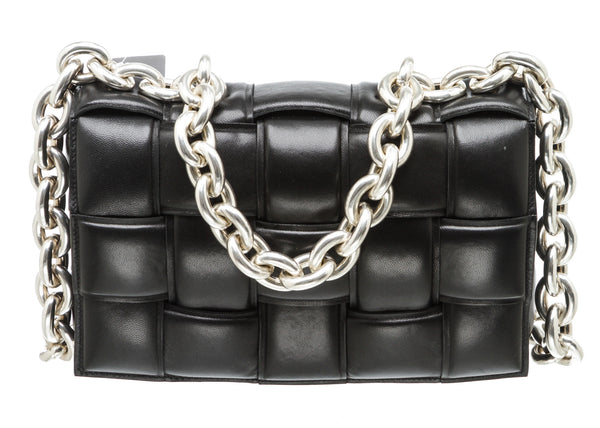 Bottega Veneta Black Intrecciato Leather The Chain Cassette Bag SHW