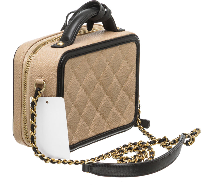 Chanel Beige and Black Caviar Quilted CC Filigree Vanity Case Bag GHW