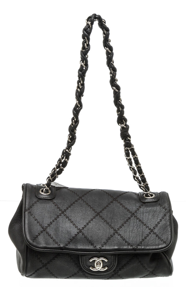Chanel Black Leather Ultimate Stitch Flap Bag SHW