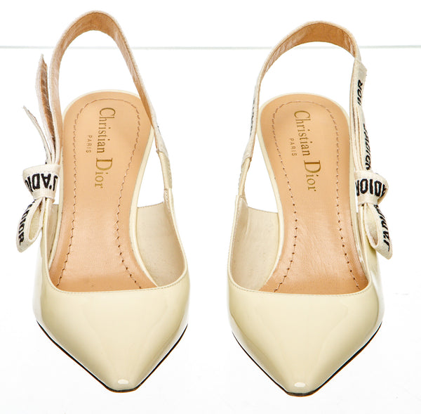 Christian Dior Off White Patent Leather  J'Adior Slingback Pump (Size 36)
