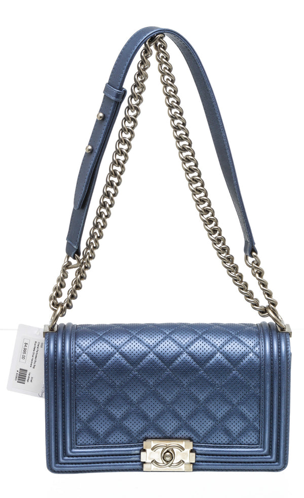 Chanel Blue Lambskin Quilted Perforated New Medium Boy Flap Bag SHW