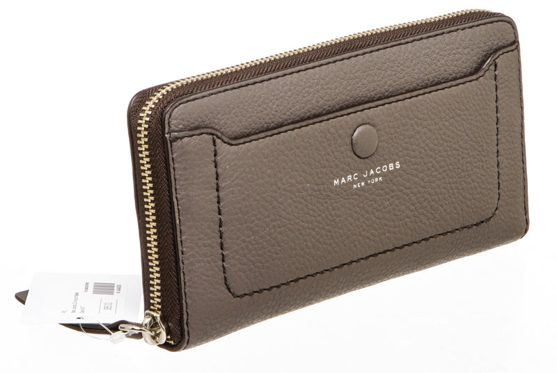 Marc Jacobs Dark Gray Leather Vertical Zip-Around Wallet