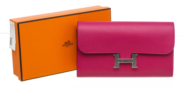 Hermes Constance Long Wallet Rose Poupre