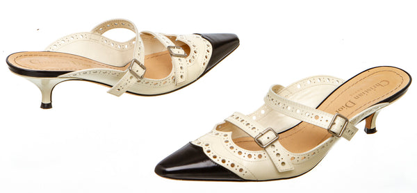 Christian Dior Cream and Black Brogue Mules (Size 37)