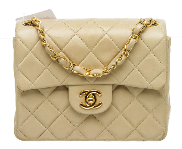 Chanel Beige Quilted Lambskin Vintage Square Classic Single Mini Flap Bag GHW