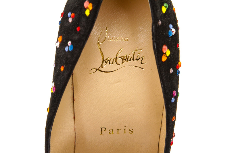 Christian Louboutin Black Pigalle Follies Crystal Pump (Size 38)