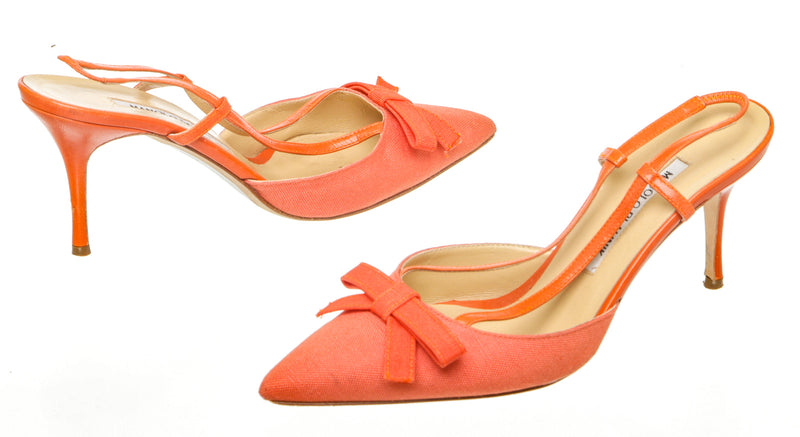 Manolo Blahnik Orange Canvas and Leather Pump (Size 38)