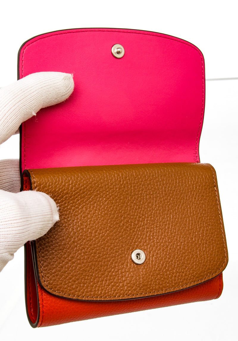 Coach Tri-Color Pebbled Leather Compact Wallet