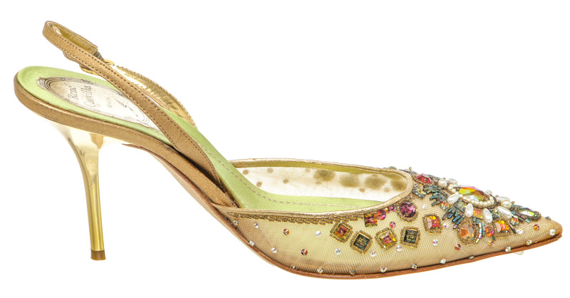 Rene Caovilla Gold Beaded Cocktail Slingback Pumps (Size 38.5)