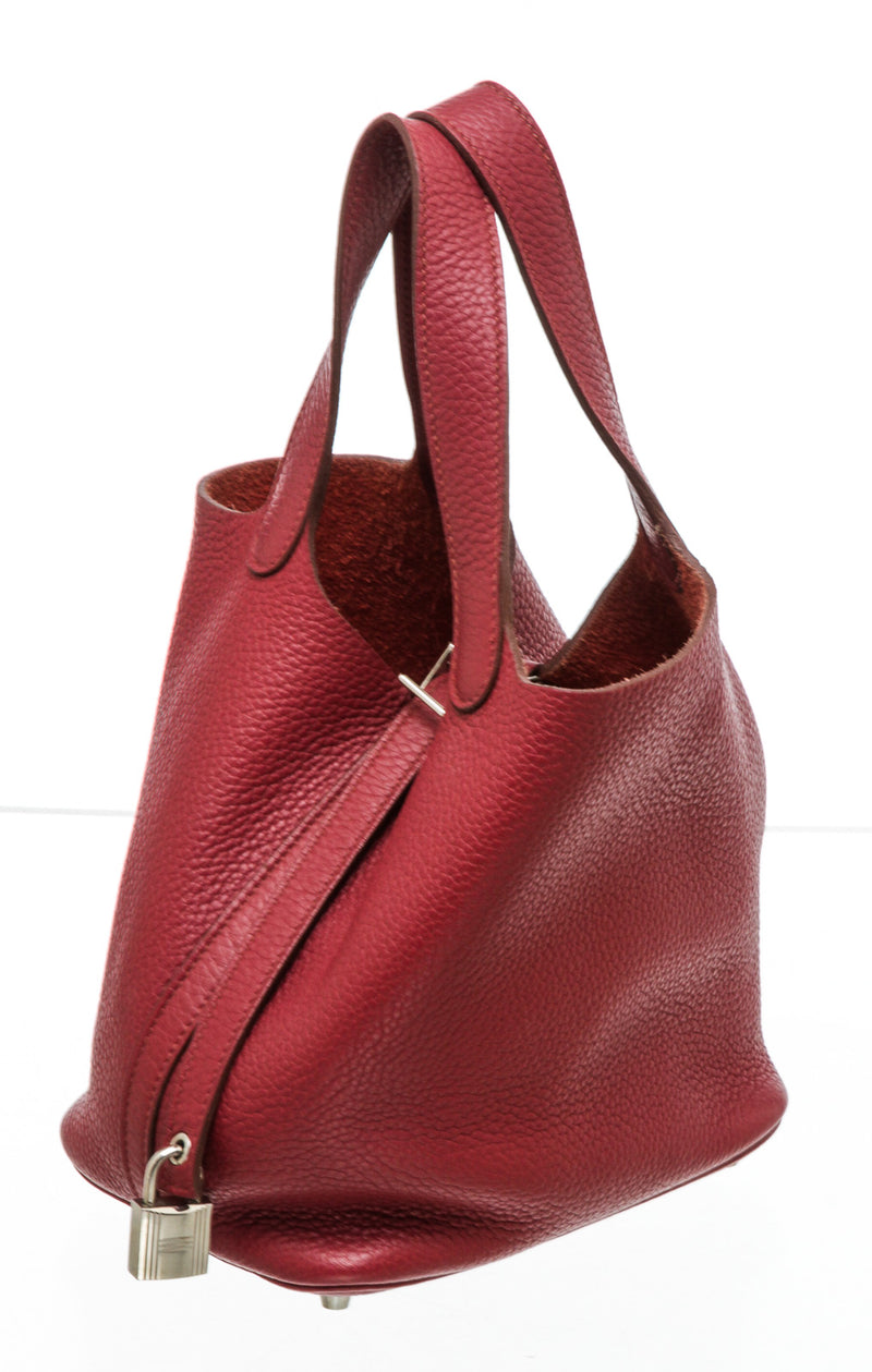 Hermes Red Rouge H Clemence Picotin 18cm Bag PHW
