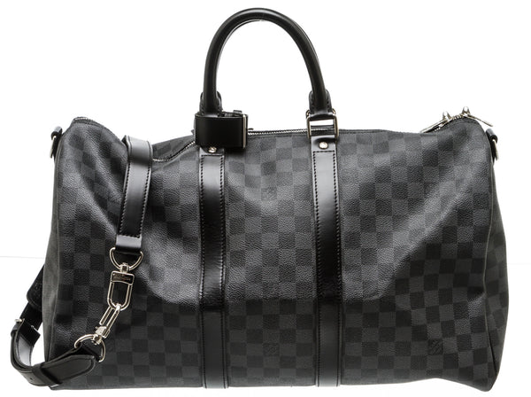 Louis Vuitton Black and Gray Damier Graphite Bandouliere Keepall 45 Duffel Travel Bag