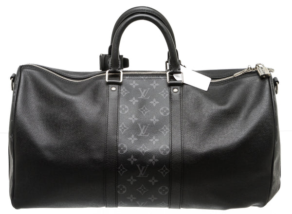 Louis Vuitton Black Taiga and Monogram Eclipse Keepall Bandouliere 50 Duffel Travel Bag