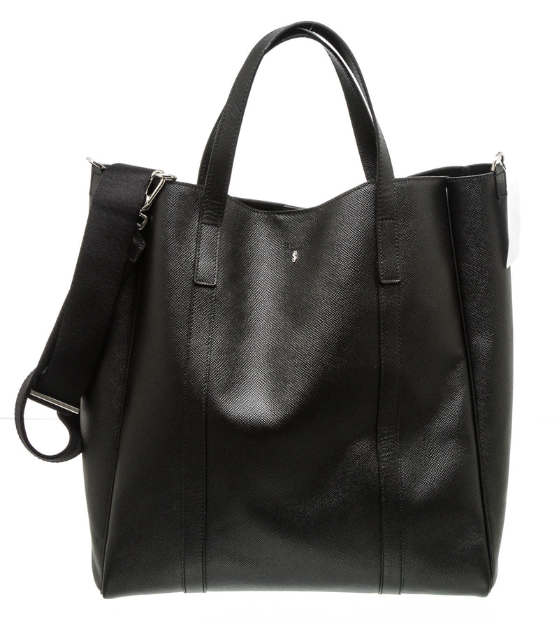 Serapian Black Leather Saffiano Tote Bag SHW