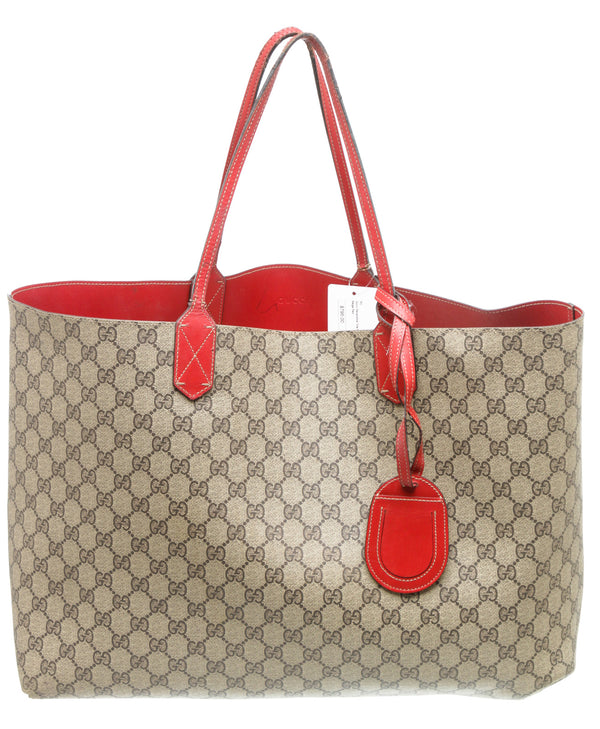 Gucci Beige GG and Red Leather Supreme Monogram Reversible Tote