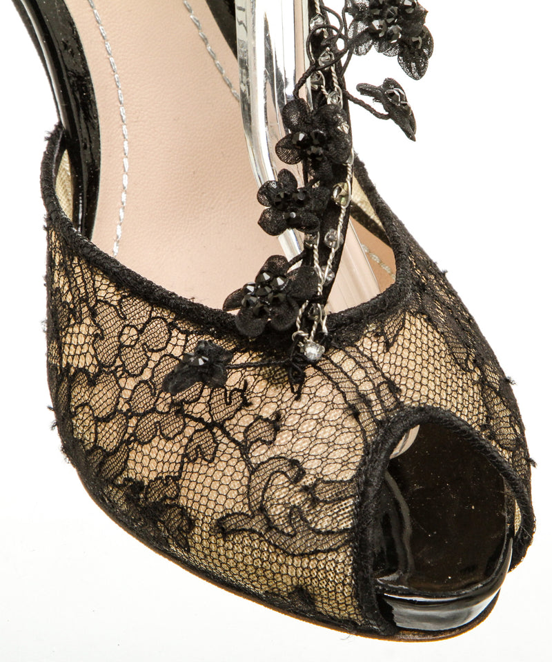 Rene Caovilla Black Satin and Lace Floral Applique Sandals (Size 38)