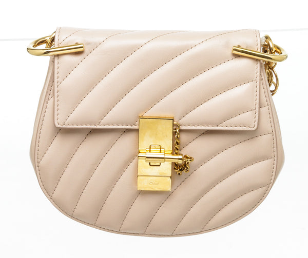 Chloe Pink Quilted Calfskin Mini Drew Bijou Shoulder Bag GHW