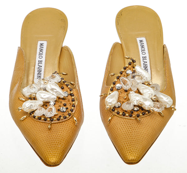 Manolo Blahnik Gold Stamped Leather Embellished Mules (Size 8.5)