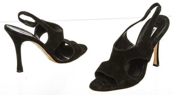 Manolo Blahnik Black Suede Cutout Sandals (Size 38)