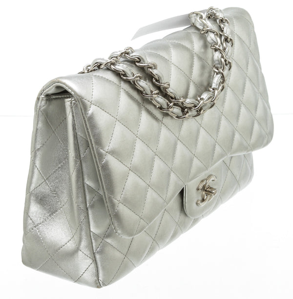 Chanel Silver Metallic Lambskin Leather Quilted Classic Single Flap Bag SHW