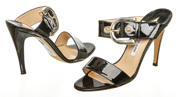 Manolo Blahnik Black Patent Leather Sandals (Size 38)