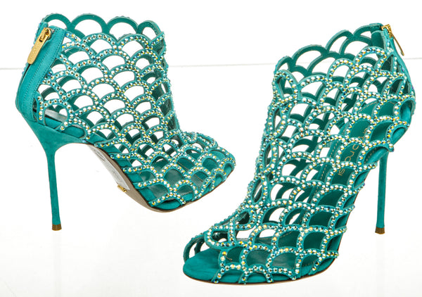 Sergio Rossi Green Mermaid Cage Bootie (Size 37)