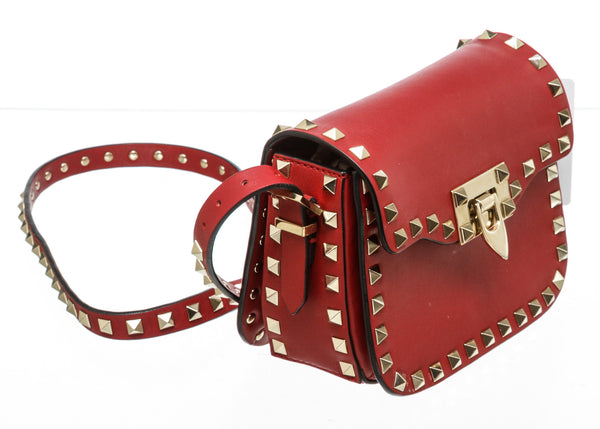 Valentino Red Leather Rockstud Mini Flap Crossbody Bag GHW