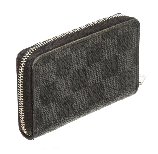 Louis Vuitton Black Gray Damier Graphite Zippy Coin Wallet Purse SHW
