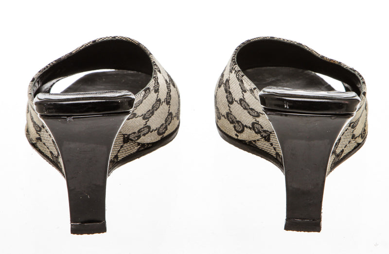 Gucci Blue Monogram Canvas Wedge Sandals (Size 36)