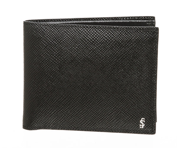 Serpian Black Leather 8 Card Billford Wallet For Men