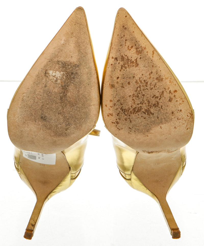 Manolo Blahnik Gold Leather Ankle Strap Pump (Size 38)