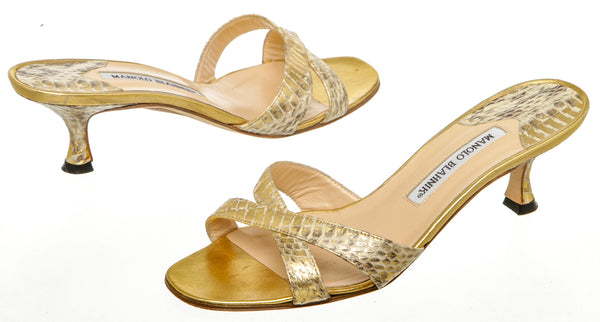 Manolo Blahnik Metallic Gold Snakeskin Sandals (Size 37.5)