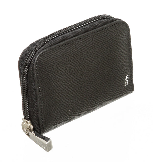 Serapian Black Calf Leather Zip Around Coin Wallet SHW