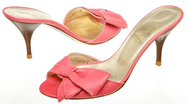 Valentino Pink Leather Bow Peep-Toe Sandals (Size 38)