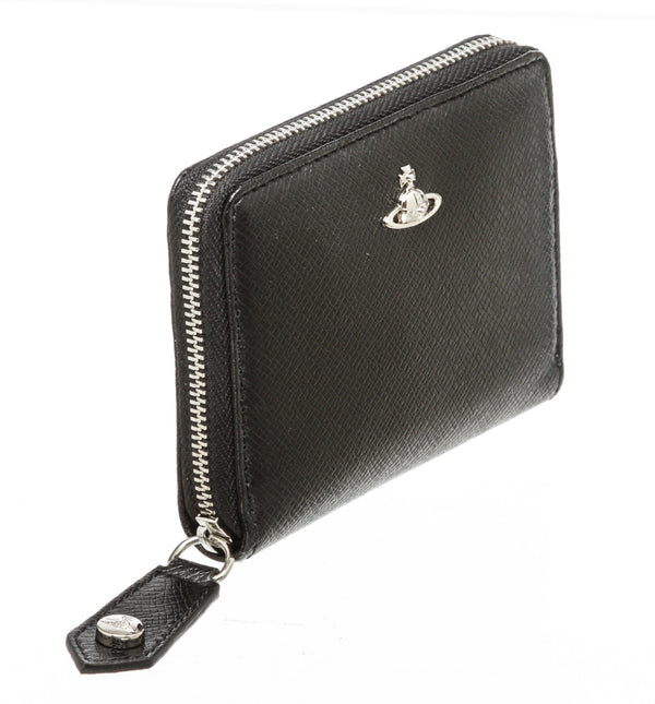Vivienne Westwood Black Calf Leather Kent Man Zip Wallet SHW
