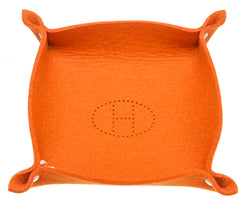 Hermes Orange Wool Sundries Jewelry And Change Tray SHW