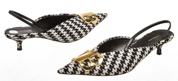 Balenciaga BB Knife Houndstooth Slingback Pumps (Size 36.5)