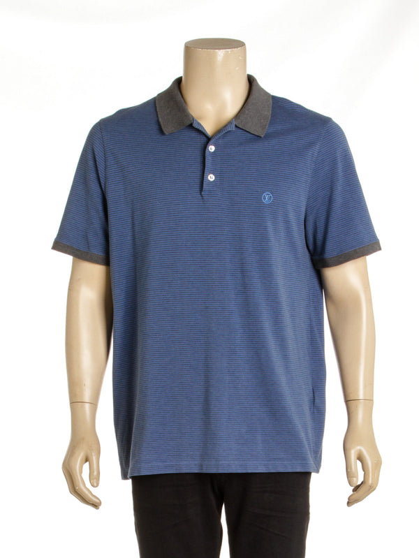 Men's Louis Vuitton Striped Blue Polo Shirt (5L)