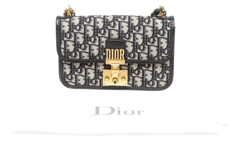 Christian Dior Navy Blue Oblique Dior Addict Flap Bag